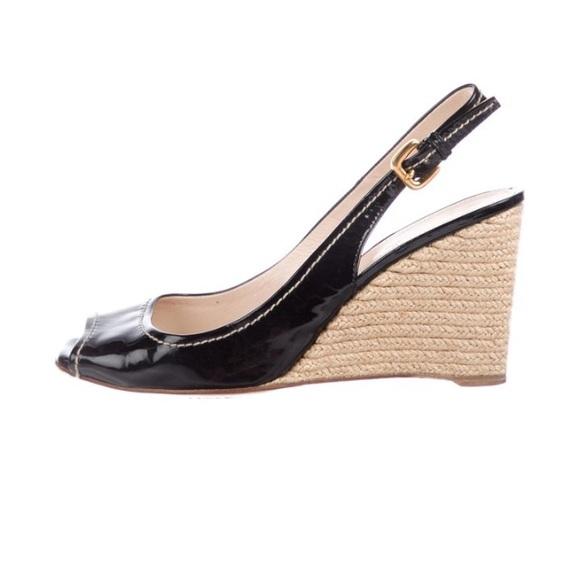Prada Black Peep Toe Slingback Wedge